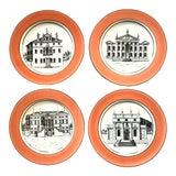 Image of Vintage Italian Mottahedeh Creil Creamware Neoclassical Palazzo Architecture Small Plates With Coral Border - Set of 4 For Sale