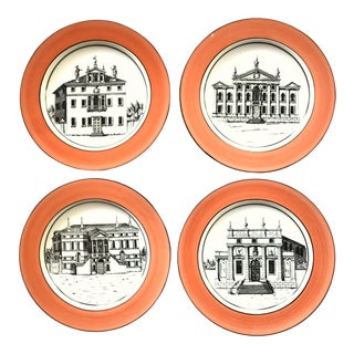 Vintage Italian Mottahedeh Creil Creamware Neoclassical Palazzo Architecture Small Plates With Coral Border - Set of 4 For Sale