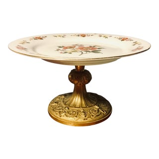 Ornate Gilt Base Renaissance Revival Cake Stand With Porcelain Transferware Topper For Sale