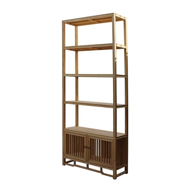 Light Natural Raw Wood Shutter Doors Minimalist Bookcase Display Cabinet For Sale - Image 4 of 8