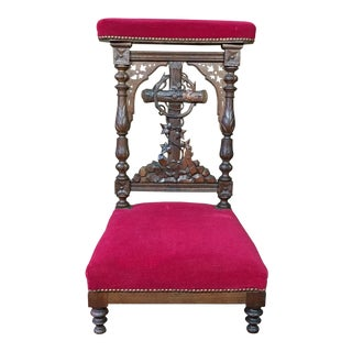 Late 19th Century Antique French Hand-Carved Oak Prie Dieu or Prayer Chair With Columns For Sale