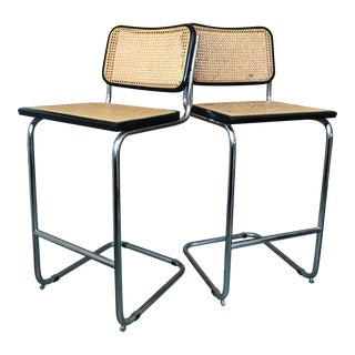 1970s Vintage Modern Marcel Breuer Style Bar Stools - A Pair For Sale