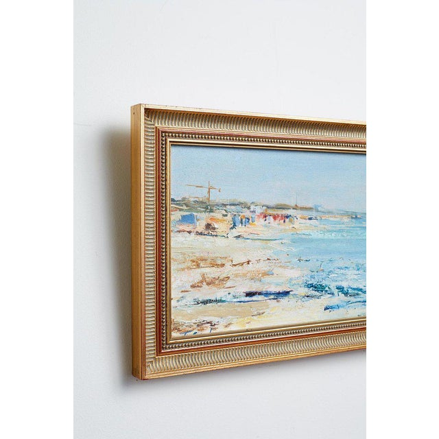 White Mid Century T. Scola Coastal Painting Oil on Board For Sale - Image 8 of 13