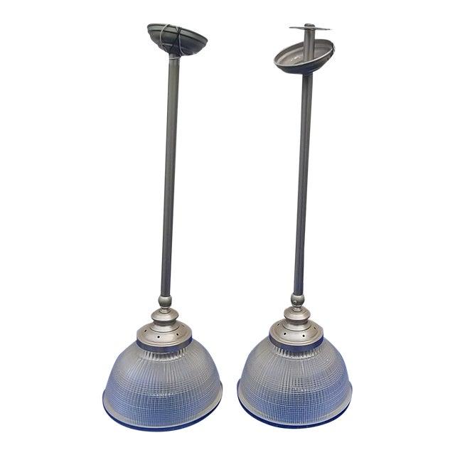 "Pair Ann Morris Polished Nickel 12"" Rim & Diffuser Holophane Glass Pendant Lamp W/ Stems For Sale"