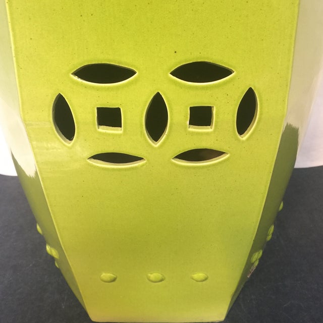 Asian Style Chartreuse Garden Stool For Sale In Sacramento - Image 6 of 10