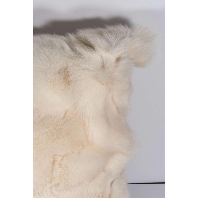 Modern Genuine White Fox Pillow with White Leather Backing For Sale - Image 3 of 6
