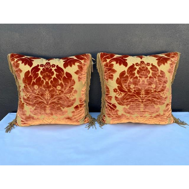 Pair of Luigi Bevilacqua Silk Velvet Pillows, burnt orange color. Trim> Janet Yonati calssi elegant design.