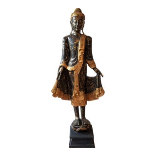 Mid 20th Century Hand Painted Carved Wood Standing Buddha For Sale