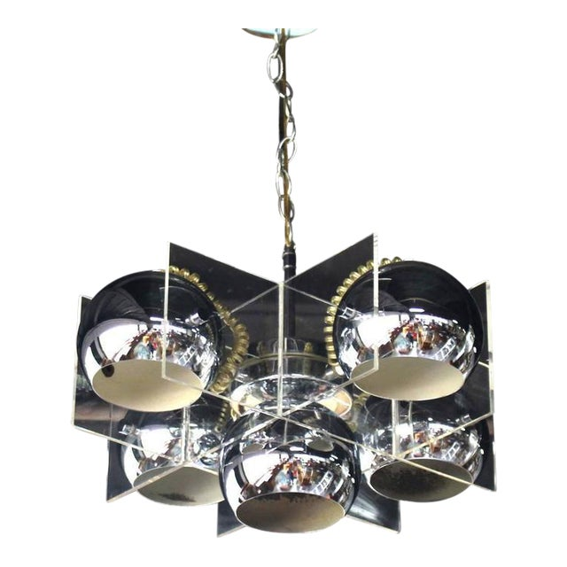 Lucite and Chrome Domes Mid-Century Modern Light Fixture - Image 1 of 7