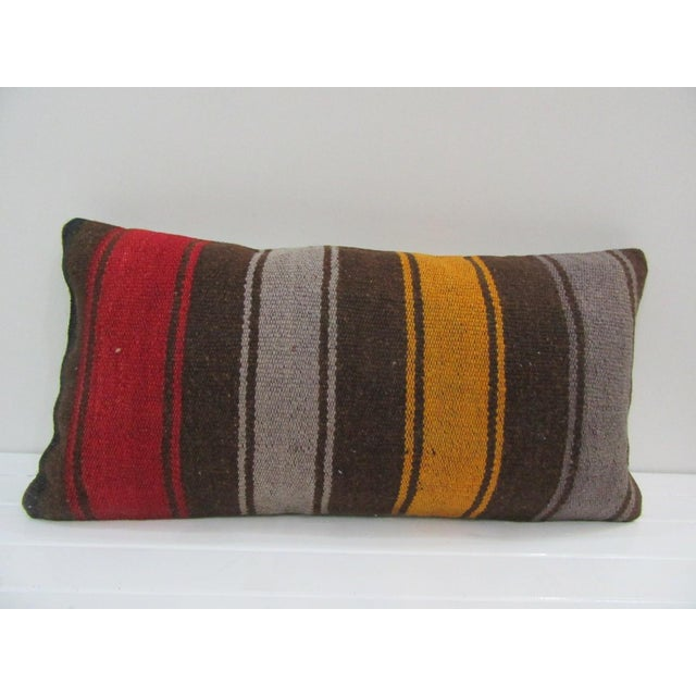 Vintage Striped Turkish Kilim Pillow Cover For Sale - Image 4 of 4