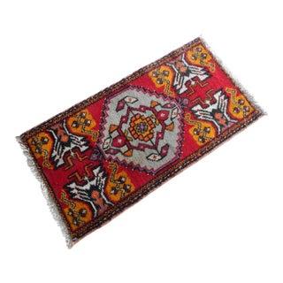 Vintage Turkish Tribal Bohemian Handmade Small Rug For Sale