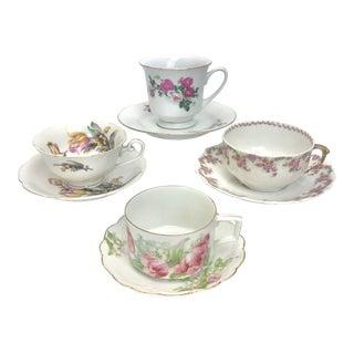Floral Porcelain Mismatched Tea Set - Set of 4 For Sale