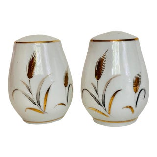 Midcentury Eternal Harvest Wheat Design Fine China Salt & Pepper Shakers - a Pair For Sale