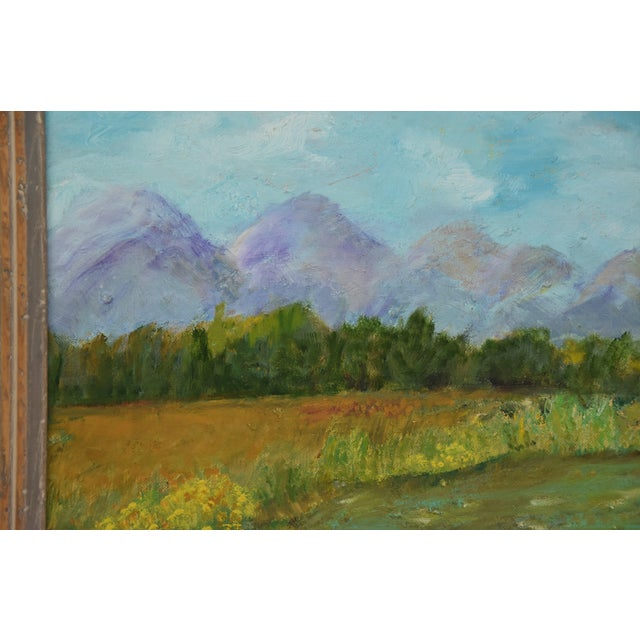 Framed Mountain Landscape Oil Painting - Image 5 of 9