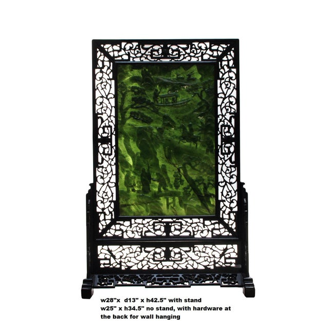 This is a handmade traditional oriental tabletop plaque in a rectangular shape on a decorative base. The Spinach green...
