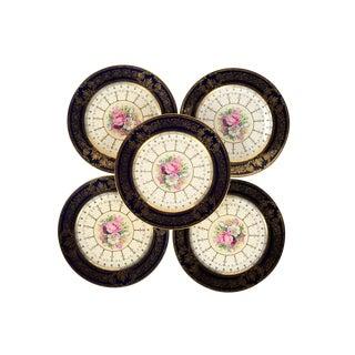 Rosenthal Ivory Bavaria Plates Roses & Black Gilt -Set of 5