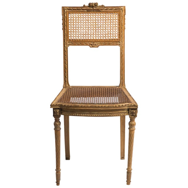 1920s Vintage Hand-Carved French Caned Side Chair For Sale