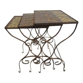 Woodard Vintage Iron Outdoor Nesting Tables - Set of 3 For Sale