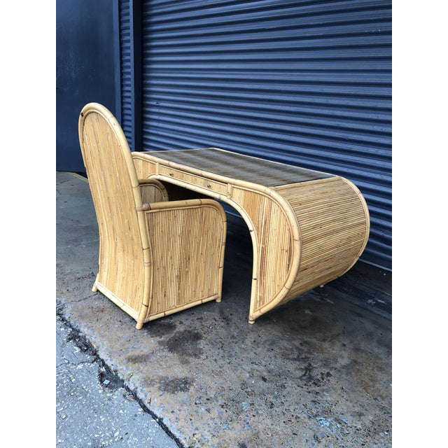 Vintage Curved Split Reed Rattan Desk With Chair For Sale - Image 4 of 12
