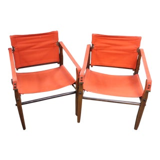 1960s Vintage Gold Metal Folding Chairs- A Pair For Sale
