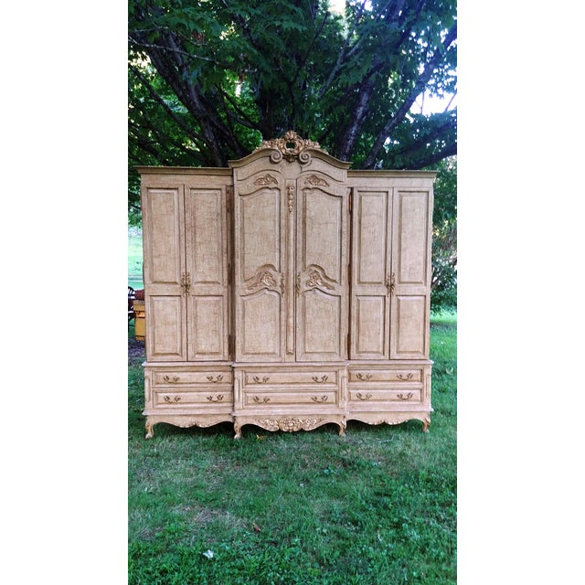 1990s French Bau Carved Aged White Crackle Painted Wardrobe For Sale - Image 13 of 13