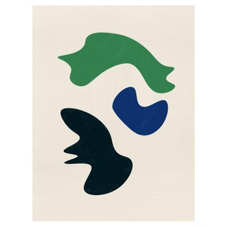 Mid-Century Modern Abstract Biomorphic Unframed Print in Blue, Green, and Black 30 X 40 For Sale