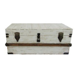 Rustic White Wash Hope Chest Trunk For Sale
