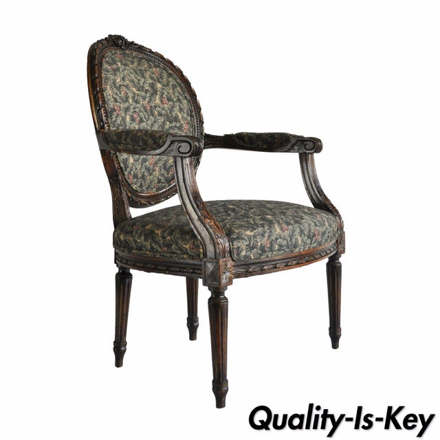 Vintage French Louis XVI Style Carved Walnut Fireside Arm Chair Fauteuil For Sale - Image 11 of 11