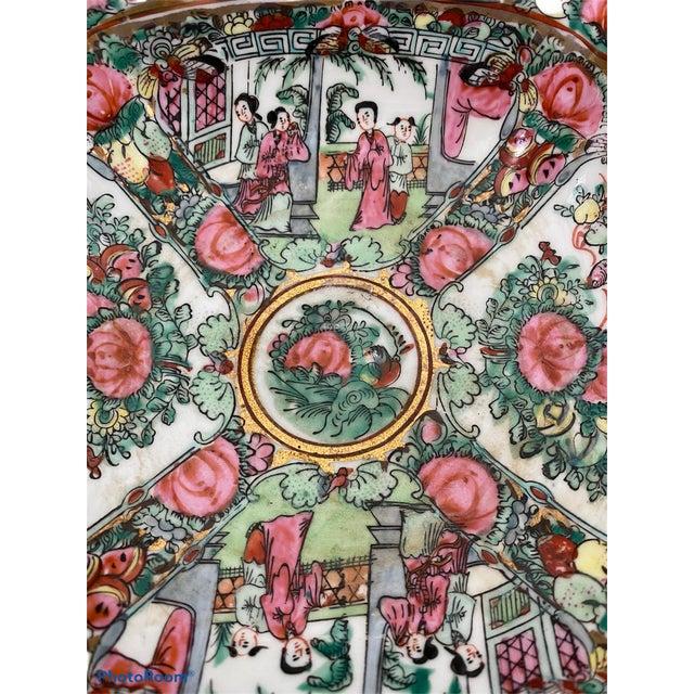 Mid 19th Century Vintage Pedestal Rose Famille Medallion Bowl For Sale - Image 5 of 7
