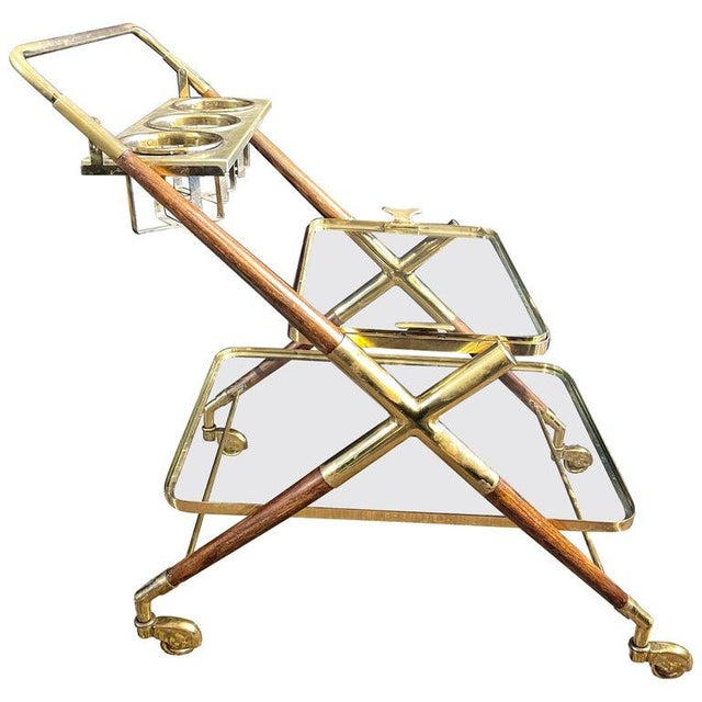 Mid-Century Modern Bar Cart, Teak and Brass For Sale - Image 13 of 13