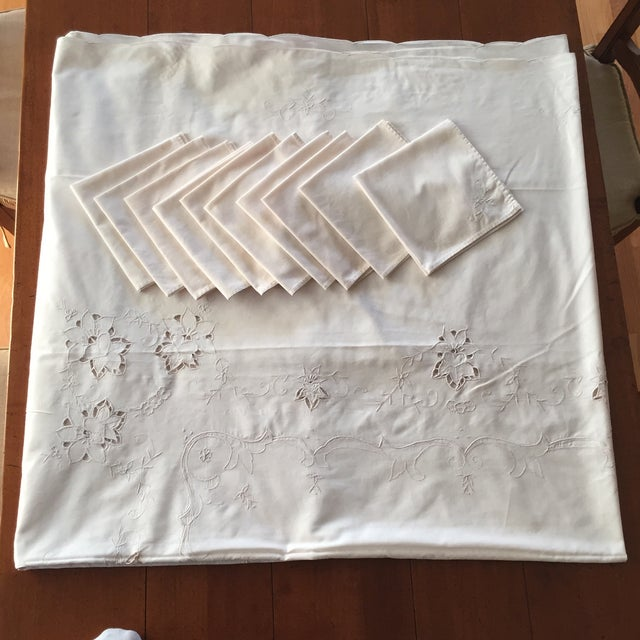 Vintage Ecru Cotton/Linen Cutwork Table Cloth and Napkins For Sale - Image 13 of 13