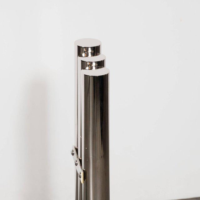 Silver Custom Modernist Tubular Polished Nickel Andirons For Sale - Image 8 of 11