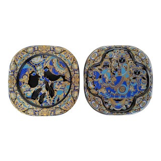 Rosethal, Bjorn Wiinblad, Limited Edition Weihnachten (1977/1978), Painted Art Glass Plates, a Pair For Sale