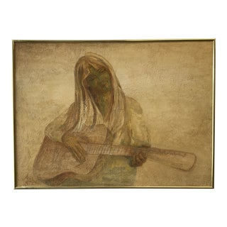Mid Century Guitar Player Painting For Sale