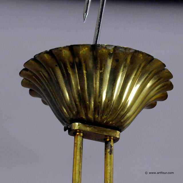 Metal A Vintage Italian Brass And Glass Pendant By Fontana Arte (attr.) For Sale - Image 7 of 10