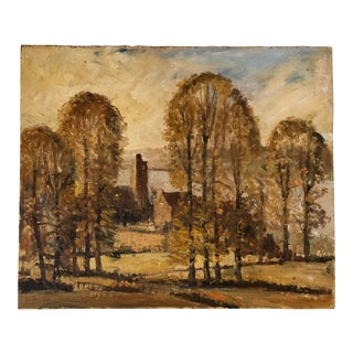 Vintage Mid-Century English Cottage in the Woods Oil Painting For Sale