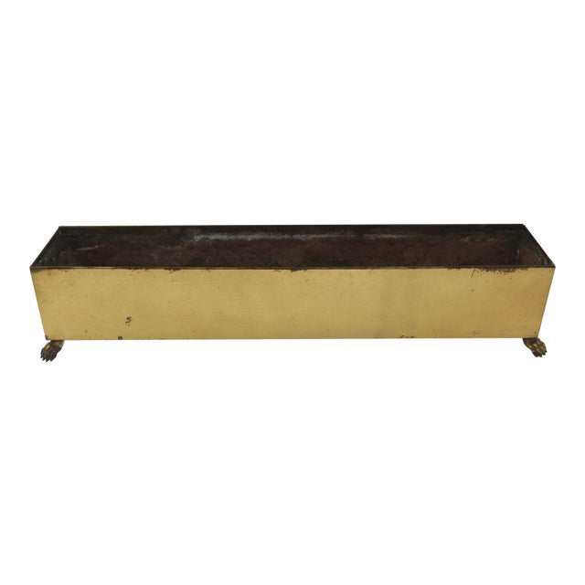 Rectangular Brass Paw Foot Planter For Sale