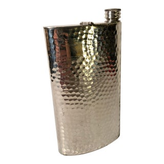 Vintage Nat Sherman Silver Plated Flask Mad Men Style and Cigar Holder For Sale