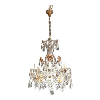 Amber Crystal Chandelier Antique Ceiling Murano Florentiner Lustre Art Nouveau For Sale