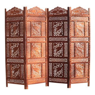 Anglo-Indian Peacock Carved Teak Four Panel Screen For Sale