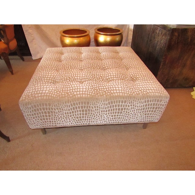 Thayer Coggin Modern Thayer Coggin Custom Upholstery Ottoman For Sale - Image 4 of 4