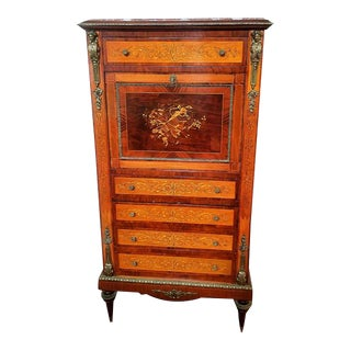 Early 20th Century Antique French Inlaid Marquetry Secretaire Desk For Sale