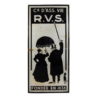 Large Rare French Enamel Advertising Sign for Life Assurance For Sale