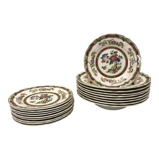 1950s Antique Marlborough Royal Petal English Plates- Set of 18 For Sale
