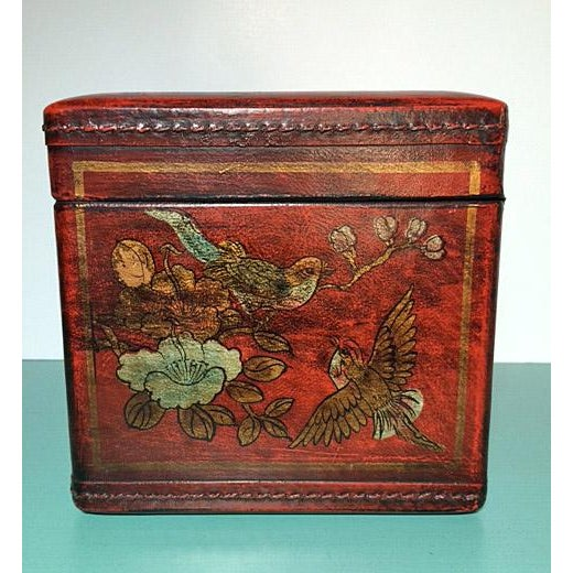 Asian Chinoiserie Antiqued Red Wood Tissue Box - Image 4 of 7