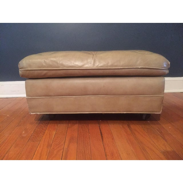 Vintage Distressed Leather Ottoman on Wheels For Sale - Image 5 of 9
