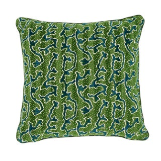 Contemporary Schumacher X Timothy Corrigan Corail Velvet Pillow in Emerald For Sale
