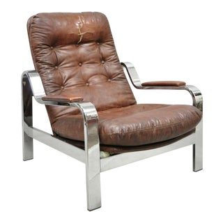 Mid Century Italian Modern Selig Chrome Reclining Recliner Lounge Chair For Sale