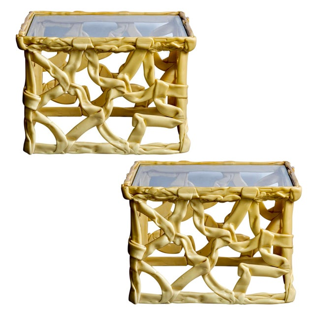 Mid Century Yellow Ribbon Taffy Side Tables, A-Pair For Sale