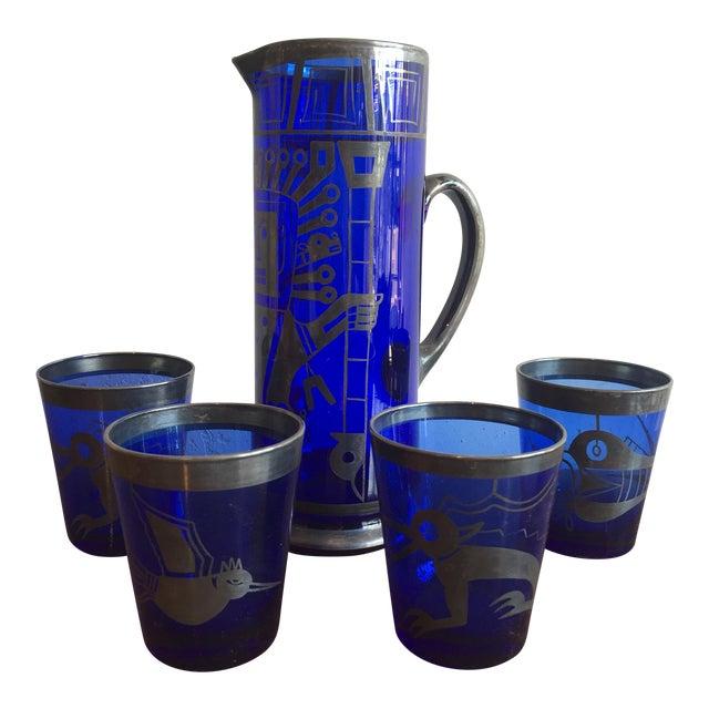 Mid Century Cobalt Blue Mixer Set w/ Aztec Motif - 5 Piece Set For Sale